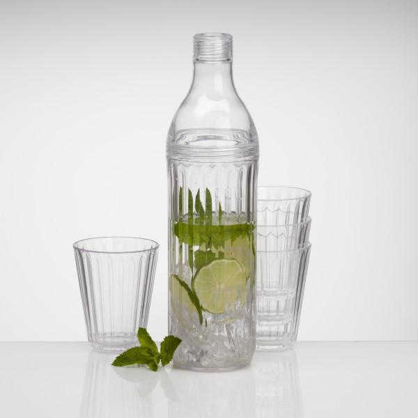 Set 4 Stapel Gläser Acryl klar mit Flasche aus Acryl