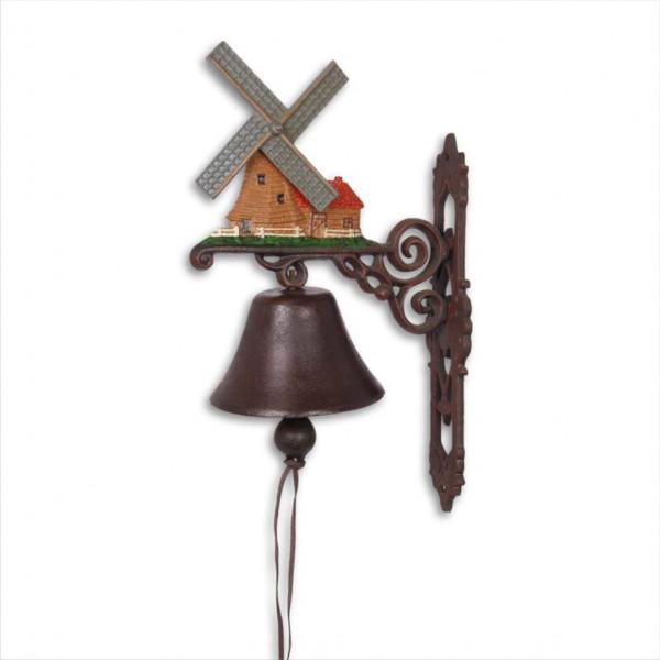 Türglocke Glocke Windmühle Gußeisen Antik Stil Retro Schelle Holland Niederlande