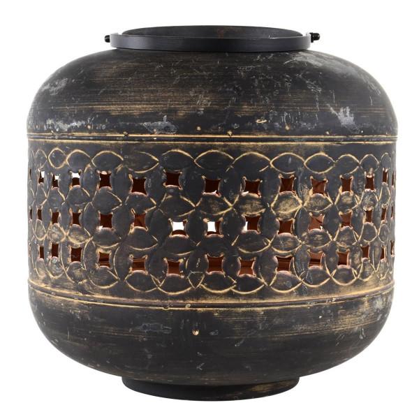 Lanterne Massive Sand Kupfer Optik Durchmesser 30 x 30 cm schwarz Metall für Garten Terasse Windlich
