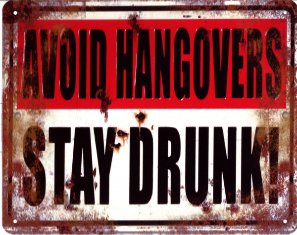 Blechschild 4838 Avoid Hangovers Stay Drunk 20 x 25