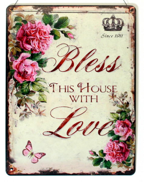 Blechschild Bless this House with Love Haus gesegnet mit Liebe 25 x 33
