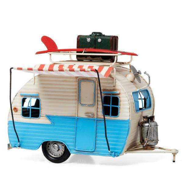 Blech Wohnwagen blau / weiß Retro