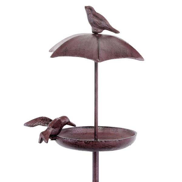 Vogeltränke Schale 95 cm hoch braun Gusseisen Wildvogeltränke Vogelbad mit Erdspieß für Garten