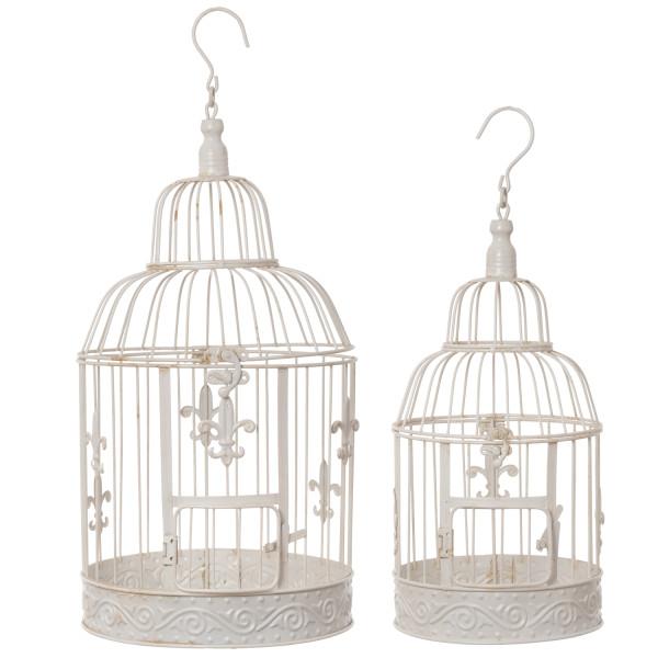Vogelkäfig Set weiß Dekokäfig Antik Shabby Style Käfig Nostalgie Landhausstil Pflanze
