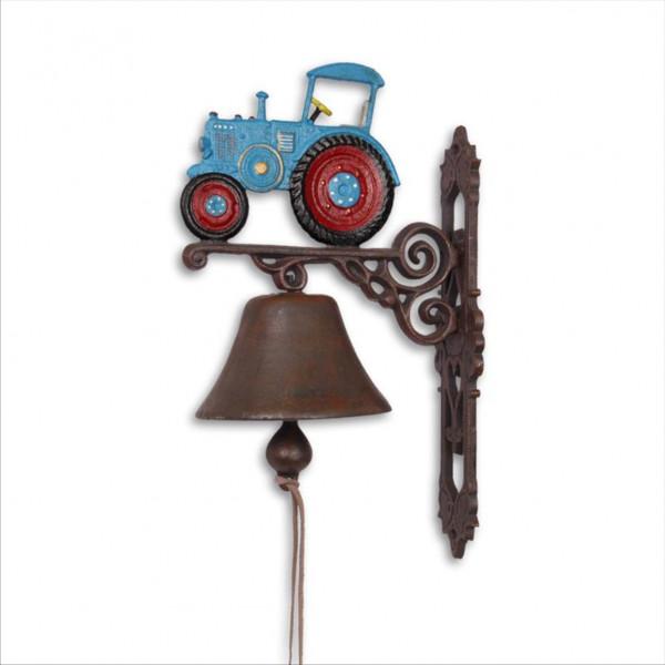 Moritz Gußeisen Wandglocke Traktor Trecker blau rot Glocke Türglocke 37 cm Höhe Hausglocke antik Sti