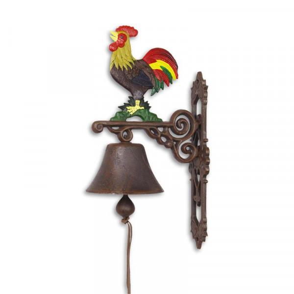 Türglocke Glocke Hahn Gusseisen Antik Stil Retro Schelle Bauernhof Klingel Bunt