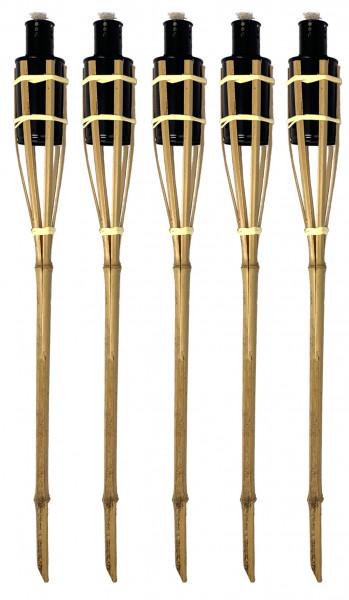5 Stück Bambusfackeln Fackel 90 cm Natur Gartenfackel