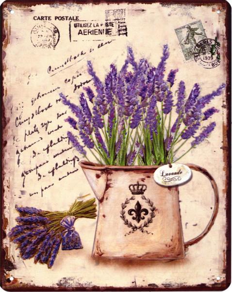 (nV) Blechschild 6968 Lavendel Gieskanne 20 x 25