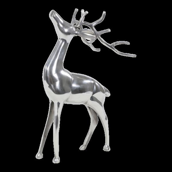 Deko Figur Hirsch stehend Aluminium poliert 18 x 15 x 48 cm HirschfigurTierfigur