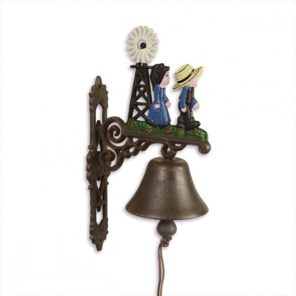 Türglocke Glocke Windmühle Gußeisen Antik Stil Retro Schelle Landschaft