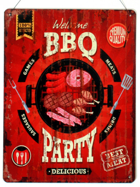 Blechschild Welcome BBQ Party Delicious 25 x 33
