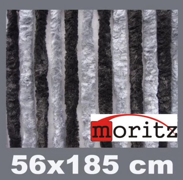 Flauschvorhang 56 x 185 cm 14 Stränge schwarz / grau
