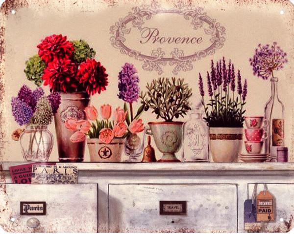 (nV) Blechschild 6928 Provence bunte Blumen Töpfe 20 x 25