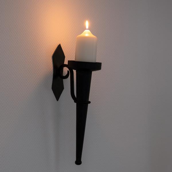 Wandkerzenhalter antik Stil 45cm Höhe Metall schwarz Wandkerzenleuchter Kerzenhalter Leuchter