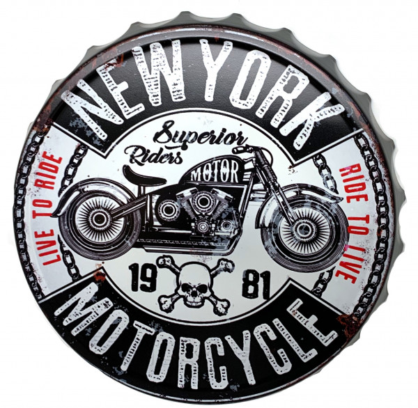 Blechschild Kronkorken New York Motorcycle Live to Ride